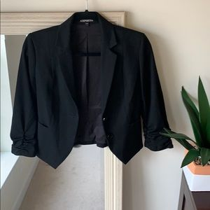 EXPRESS black blazer with ruched 3/4 sleeves (0)✨